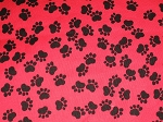Black Paws on Red Through the Collar Bandana