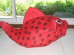 Red with Black Pawprints Flounder Pet Bed